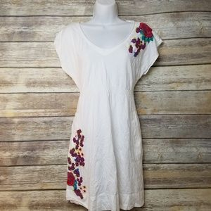 Johnny Was JW LA White Embroidered Floral Dress